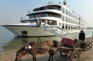 Boarding the Scenic Spirit at Kampong Cham, Cambodia.