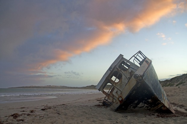 Fishing boat washed up on Pondalowie Bay.