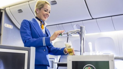 KLM serves draught beer on board their planes.