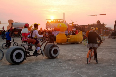 F36WRA A sunset gathering on the playa during the annual Burning Man festival in the desert August 29, 2014 in Black ...