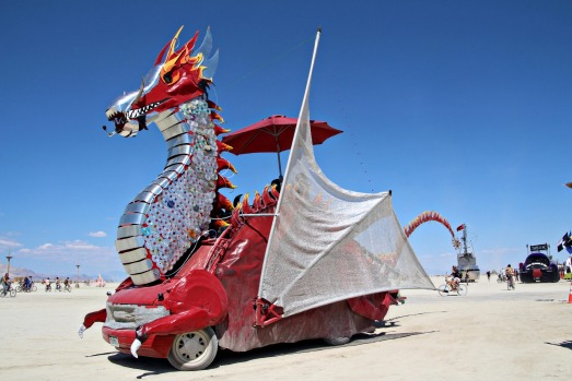 A dragon art car during the annual Burning Man festival in the desert.