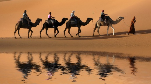 Travel is a mind-opening experience. Try, for example, a camel caravan in the Sahara Desert, Morocco.