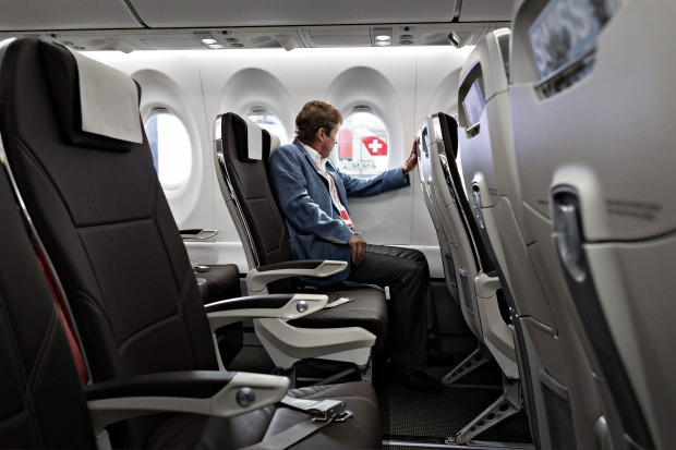 The cabin of a Bombardier CS 100 C Series jet, operated by Swiss International Air Lines.