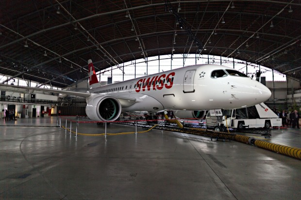A Bombardier CS 100 C Series jet, operated by Swiss International Air Lines.