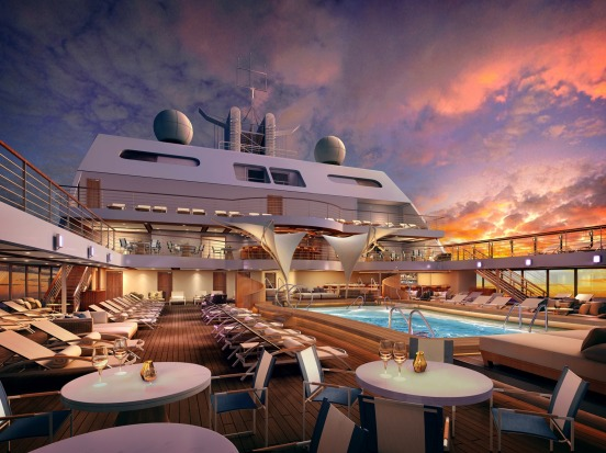 The pool are on Seabourn Encore.