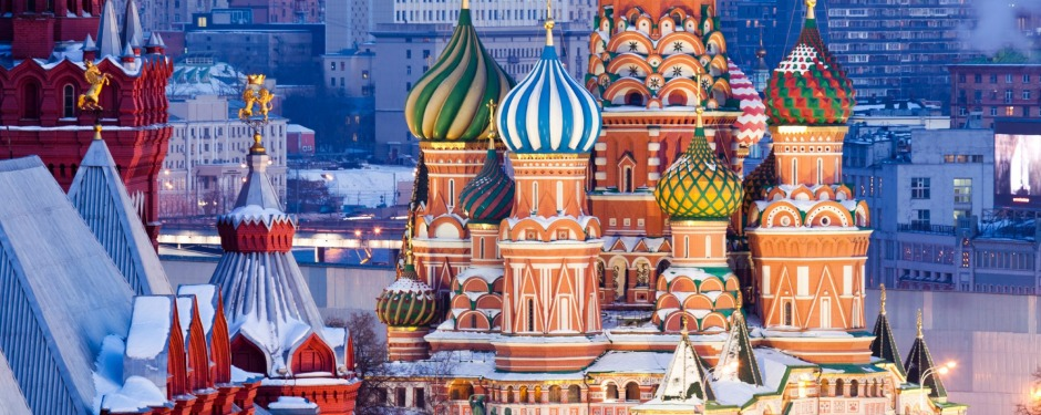 St.Basil Cathedral at Red Square in Moscow from top of the Ritz-Carlton hotel.