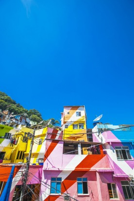Colorful buildings in Santa Marta favela.