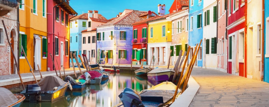 Colourful houses abound on the Venetian island of Burano in Italy.
