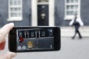 A Raticate, a character  from Pokemon Go, a mobile game that has become a global phenomenon, in Downing St, London, England.