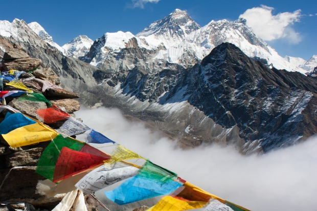 View of Everest from Gokyo Ri on the way to Everest base camp.