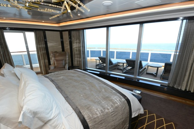 The Regent Suite's master bedroom boasts the best view on the ship - except for the Bridge.