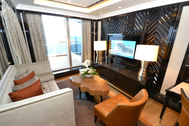 The master bedroom in the Regent Suite also includes its own living area.