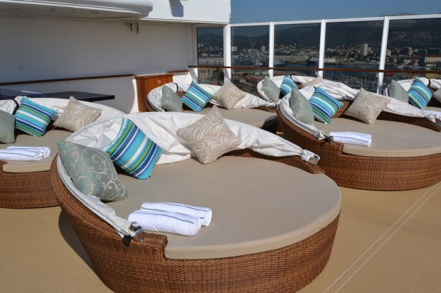 Circular lounges on the pool deck are ideal for (safely) soaking up some Meditteranean rays.