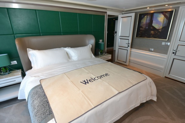 The master bedroom on the Grand Suites also features a king-size bed and plenty of room to move.