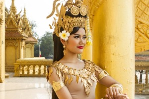 A traditional Cambodian Apsara dancer.