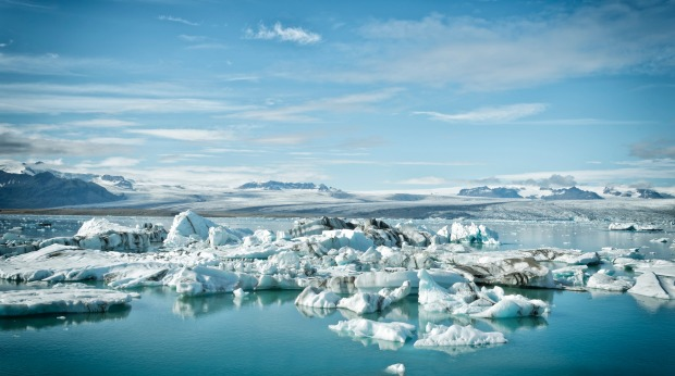 Icebergs floating in the Jokulsarlon glacier lagoon in Iceland.
