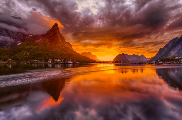 The midnight sun: Lofoten, Norway.