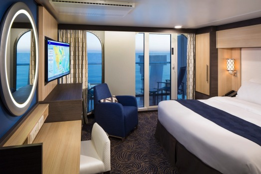 Deluxe ocean view stateroom with balcony on Ovation of the Seas.