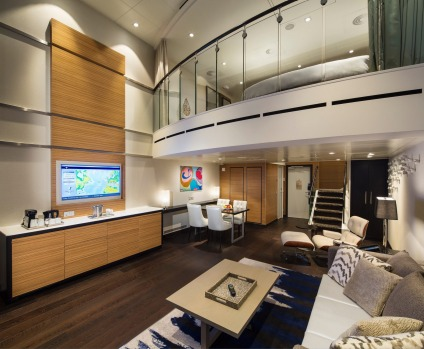 Grand loft suite with balcony on Ovation of the Seas.