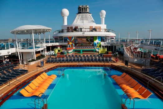 The pool deck on Ovation of the Seas.