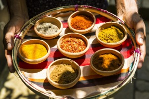 A diverse selection of colourful spices used in Sri Lankan cuisine, Galle, Sri Lanka.