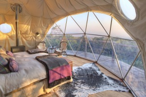 A clear view from the eco-dome at Asilia Africa's The Highlands.