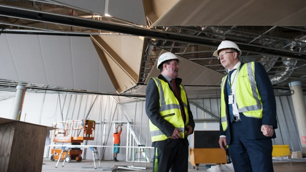 Canberra Airport managing director Stephen Byron with Richard Phillips, manager of aviation projects.