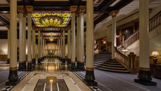 The Driskill's lobby and dome.