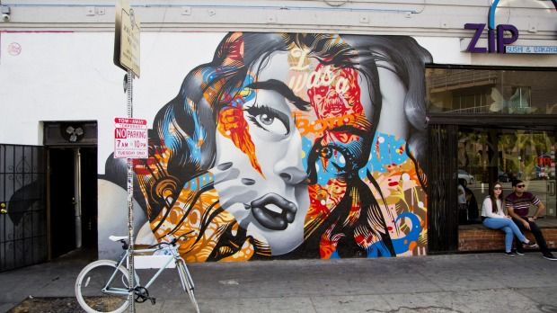 A mural in Downtown LA adds to the area's colourful vibe.