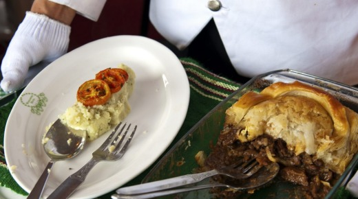 Old comforts: Steak and kidney pie with mashed potatoes and grilled tomatoes at the colonial-era Windamere Hotel in ...
