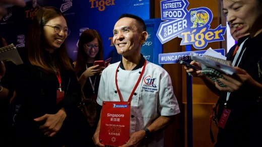 Chan Hon Meng, owner of Hong Kong Soya Sauce Chicken Rice & Noodle hawker stall, is awarded one star.