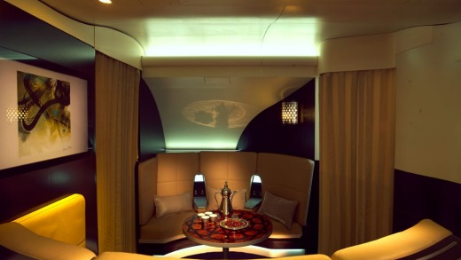Etihad's A380 lounge is inspired by the Arabian concept of the Majlis, a space where guests are met and entertained.