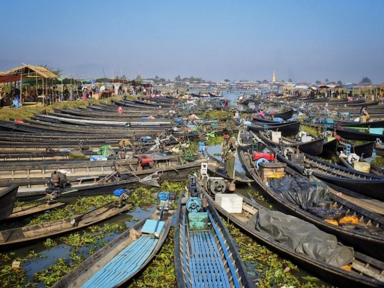 Organised chaos or a picture of symmetry docking at the markets on Inle Lake. We visited Myanmar in January 2016. The ...