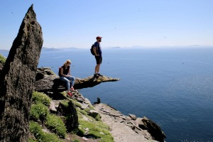 Enjoying the view from Skellig Michael.