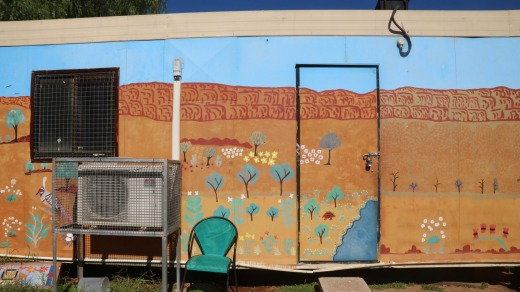 Mural showing MacDonnell Ranges just behind the camp.
