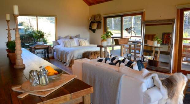 The interior of the self-contained accommodation at Howards Lane Vineyard, Mittagong.  Photo: supplied