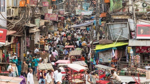 Crowded streets of Old Delhi in India.