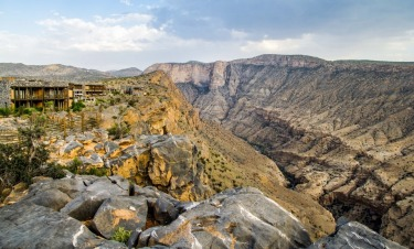Alila Resort sits atop the Green Mountain valley in Oman, perched literally on the side of the canyon offering ...