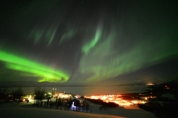 The Northern Lighs over the town of Bjorkliden, Sweden.