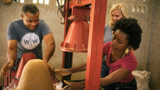Making water filters in Dominican Republic.