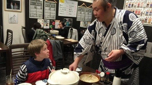 Jack with ex-professional wrestler Sagami-San, who explains the niceties of shabu shabu (hot pot) at his sumo restaurant ...