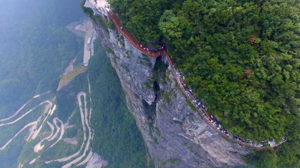 China has really outdone itself this time with the most terrifying glass walkway yet.