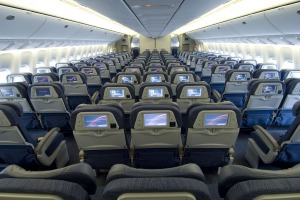 Economy class in an Air Canada Boeing 787-8 Dreamliner.