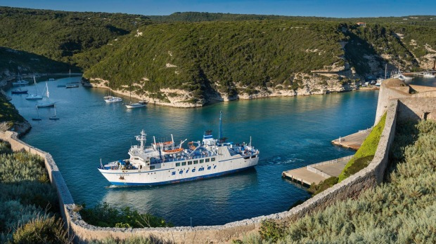 If touring Italy, you can take in the sights on a ferry to Bonifacio in the south of Corsica.