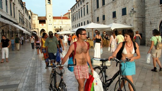 Overcrowded: Tourists walk through the Stradun, the main street in the coastal town of Dubrovnik.