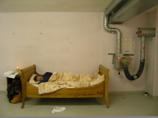 Sleeping in the underground bunker.