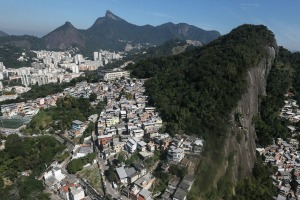 RIO DE JANEIRO, BRAZIL - JULY 04:  Hillside 'favela' communities stand in the foreground on July 4, 2016 in Rio de ...