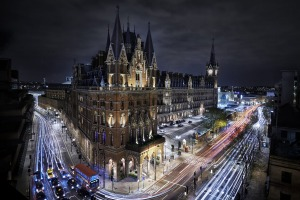A nightime shot of the Victorian-era St Pancras railway station, nowadays the terminal for Eurostar trains.