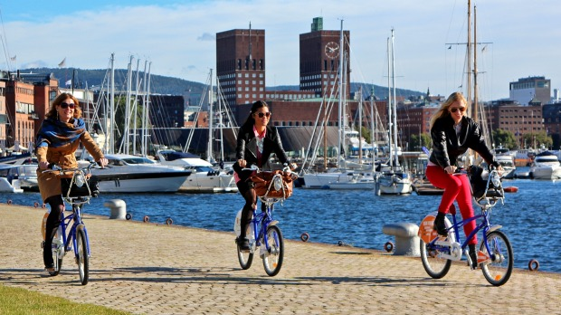 Cycling Oslo's waterfront.