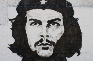 Che Guevara painted on a wall in Havana, Cuba.